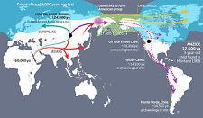 Cartel de puente de tierra estrecho de Bering (migración humana Beringia imagen Ice Age)