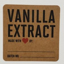 "Vanilla Extract Labels on Kraft (red heart) - 2"" square. Package of 12"
