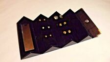 TRAVEL EARRING JEWELRY CASE & 6 PAIR OF EAR RINGS - HOLDS 9 PAIR - SNAP CLOSURE