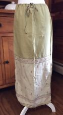 N54~American Eagle Cotton Maxi Skirt Hippie Style Green/Tan Embroidery Size 2