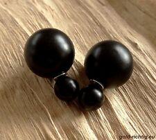 DOPPELPERLEN OHRSTECKER schwarz seiden-matt (Ohrringe Perlenohrstecker Perlen)