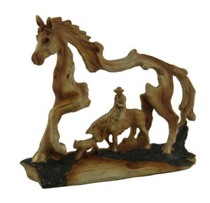 Zeckos The Wrangler Cowboy In Horse Faux Carved Wood Openwork Statue
