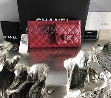 NWT CHANEL $2640 Dark RED Large Clutch 2012 12A Wristlet Burgundy Lamb LAMBSKIN