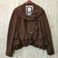 Elevenses Anthropologie Womens Coat Brown Double Breasted Button Tiered Ruffle 8