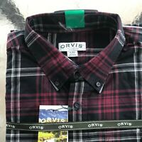 Orvis Men's Tartan Twill Long Sleeve Shirt - Large, color Red