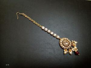 Traditional Kundan Pearl Gold Tone Tikka Set Partywear Wedding Fashion Jewelry