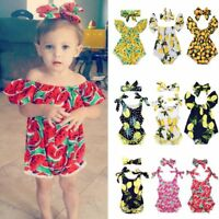 Fashion Baby Girls Watermelon Lemon Printed Romper Bodysuits with Bow Headband