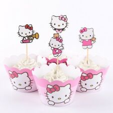 24 PCS Pink Hello Kitty Birthday Party Cupcake 12 Wrappers + 12 Toppers Supply