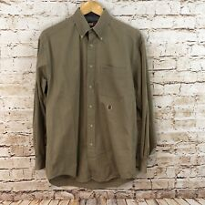 Tommy Hilfiger khaki shirt mens small button up long sleeve lion crest vtg  M6