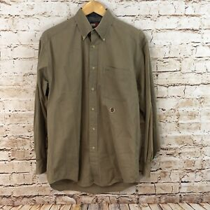 Tommy Hilfiger khaki shirt mens small button up long sleeve lion crest vtg  M6