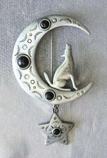 Fabulous JJ Howling Coyote with Moon & Star Silver-tone Brooch Vintage 1980s