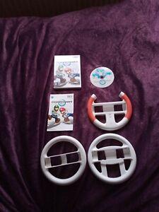 Nintendo Wii Mario Kart With Steering Wheels