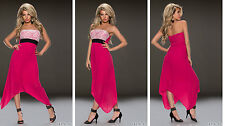 Party Club Formal Wear Modern Mullet Asymmetric Maxi Dress UK size 8-10 -Pink