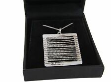 Sterling Silver Wire Wrapped Square Pendant Necklace