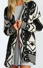 Womens Ladies Open Front Long Sleeve Chunky Knitted Aztec Cardigan Top W10