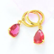 Statement womens vintage 18K gold filled Red crystal dangle Drop earrings lot