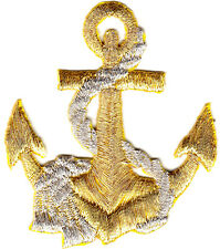 Gold Anchor w/Silver Rope Nautical Ocean  Iron On Embroidered Patch