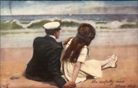 TUCK Oilette - Too Busy to Write Romance on the Beach c1910 Postcard