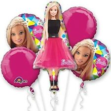 5 Piece Barbie Sparkle Foil Mylar Bouquet Of Balloons