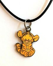 """Silver Disney Baby Tigger Pooh Necklace 17-19"""" Pendant Enamel Plated Cartoon"""
