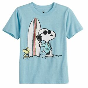 PEANUTS SNOOPY SURFBOARD FAMILY FUN BEACH SHIRT YOUTH BOYS SZ S, M