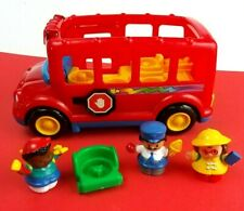 Fisher Price Little People Red School Light Sound Bus Vehicles Figures Bundle