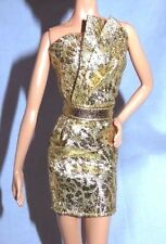 """DRESS ONLY ~ BARBIE DOLL """"THE LOOK"""" CITY SHINE GOLD EVENING GOWN MODEL MUSE"""