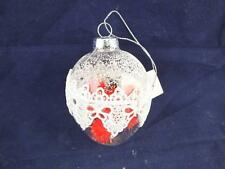 Clear Glass Christmas Tree Baubles with Red Soft Spiky Balls Inside Box of 6.
