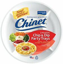 NEW White Plastic Chip and Dip Party Trays  2 ct FREE SHIPPING