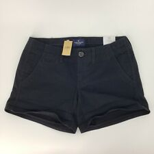 New American Eagle Shorts Shortie Twill Chino Stretch Size 4 Black stretch