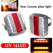 2x 14 LED Truck RV Trailer Rear Tail White Light Brake Stop Turn Signal Lamp  #