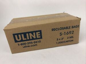 """Uline 1000 Count Reclosable Bags 3""""x 3"""" 2mm S-1692 - Fast Free Shipping"""