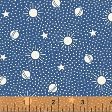Storybook Sleeptime Navy Celestial 50009-9 Fabric by the 1/2 yard stars moon