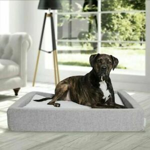 NEW MOLECULE: Air-Engineered Dog Pet Bed Large for 60+ lbs Gray/White All-Season