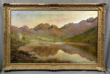 """Beautiful Early 20th Century Oil Painting """"Mountain Lake Landscape"""""""