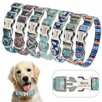 Personalized DOG Collar Floral Nylon Puppy Name Free Engraved Buckle Collars S-M