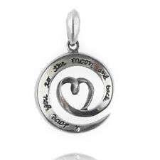 Small I Love You To The Moon and Back Pendant - 925 Sterling Silver - Gift Charm