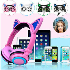 Foldable Cat Ear Headset LED Light Headphones Rechargeable Earphone for Samsung