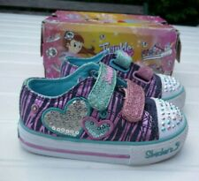 Boxed Skechers Twinkle Toes Girls Pink/Blue Sequin Light Up Trainers Shoes UK 5