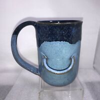 Blue Studio Art Pottery Joan Mallick Blue Glaze Tea Bag Holder Cup Rhode Island