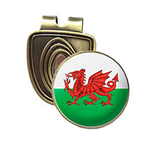 WALES FUSION CAP CLIP & MAGNETIC GOLF BALL MARKER IN BRONZE - WELSH