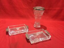 ANTIQUE SET OF SOLID SILVER & CUT GLASS VASE OR CUP WITH 2 PLATES BOWLS
