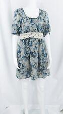 New-Size Small-Nick&Mo-Women Blue Chiffon Dress-Lace Waistband-Babydoll-Floral