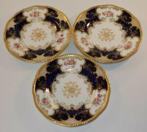 "3 Antique Cobalt Batwing Blue Gilded Floral Wavy Edge 6"" Side Plates c1910 VGC"