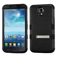 Samsung Galaxy Mega 6.3  Rubber IMPACT TUFF HYBRID KICK STAND Case Cover Black