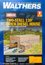 Walthers N #933-3266 Two-Stall 130' Brick Diesel House -- Kit - 10-3/4 x 6-3/4 x