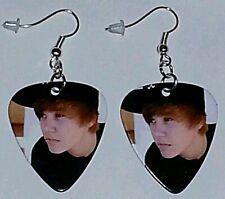 Justin Bieber Guitar Pick Earrings Silver Plated Dangle Jewelry #2