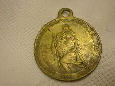 "Vtg Saint Christopher Medal Patron Saint of Travel Religious 1"" Charm Fob Train"