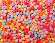 1000 Assorted Bubblegum Craft Art Beads 6mm Round Acrylic Opaque Bright Colors