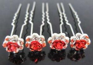Bridal Hair Pins Rhinestone Wedding Prom Clips Flower Rose Crystal Grips Jewelry